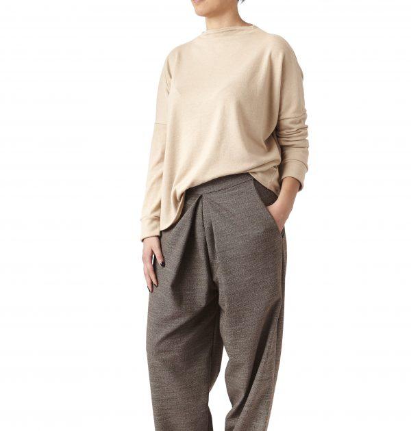 pantaloni piega centrale